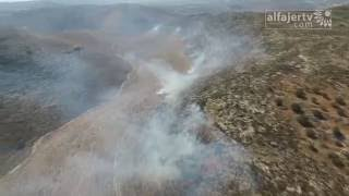 حريق كبير في اراضي زراعية جنوب قرية شوفة