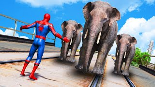 GTA 5 - Can Spiderman Stop Elephant ? - Euphoria Physics, Funny Moments