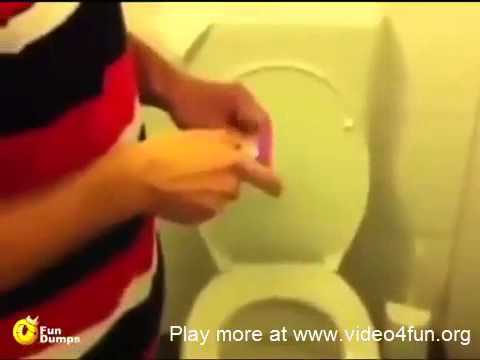 Firecracker prank, in Toilet box