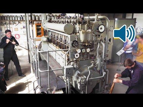 Vanhan sukellusveneen moottorin käynnistys – Hyvin hyrisee!