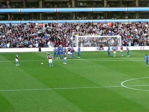 Aston Villa versus Portsmouth. Ashley Young
