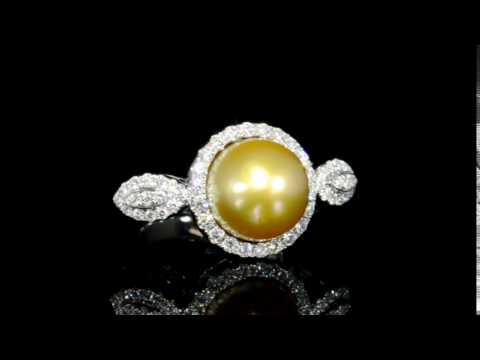 Lady's 18k White Gold South Sea Golden Pearl (Apx. 12mm) and Diamond Ring