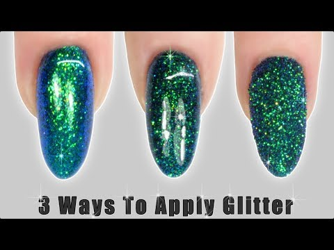 Gel nails - How to apply GLITTER to Nail Polish & Gel Polish - 3 Ways!