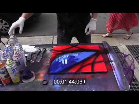 Street - Spray paint art is an art form using spray paint, traditionally on poster-board. It differs from graffiti art in that graffiti is performed on buildings, tra...