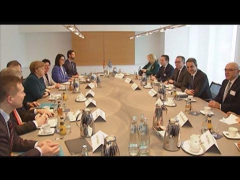 Συνάντηση του Κυριάκου Μητσοτάκη με τη Γερμανίδα καγκελάριο Άγγελα Μέρκελ