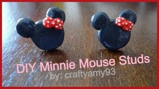 DIY Minnie Mouse Stud Earrings (using Sculpey) - YouTube