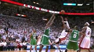 LeBron James Dwyane Wade Chris Bosh big 4th quarter to beat Boston GM7 EFC NBA Playoffs 2012