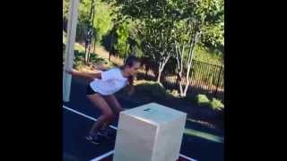 Above the Net Training for Volleyball. Louise Linton Jump Training on a 30 inch plyometric box. Training by Jeff Linton.
