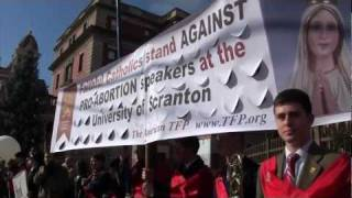 Faithful Catholics rally against pro-abortion speaker at the University of Scranton