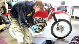 2. Honda XR250 Oil Change + Filter 2002 (1996-2004) How To help w/ french bulldog! shot with Canon T3i