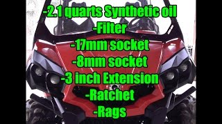 2. Can-Am Commander 800R-XT or 1000: Oil Change: 2.1 Quarts Full Synthetic 5w-40, Oil Filter