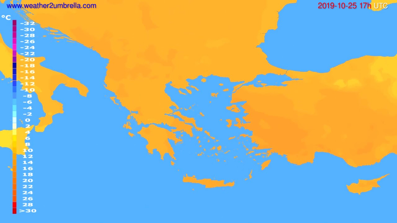 Temperature forecast Greece // modelrun: 00h UTC 2019-10-24