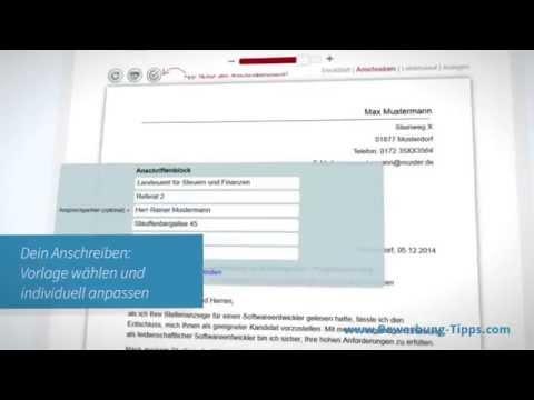 Online Bewerbung schreiben mit dem Bewerbungs-Editor