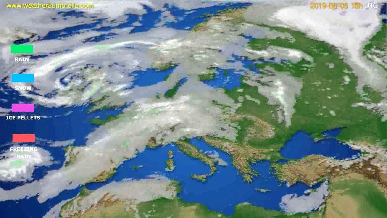 Precipitation forecast Europe // modelrun: 12h UTC 2019-08-03