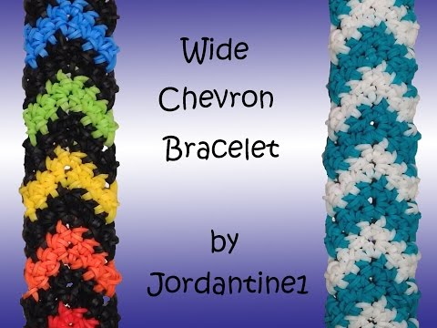 New Wide Chevron Bracelet – Hook Only –  Rubber Band Crochet – Rainbow Loom