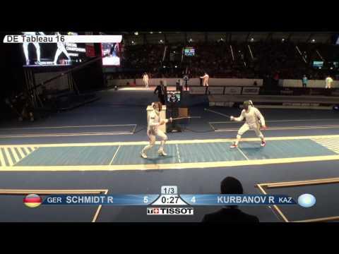 FE M E Individual Leipzig GER World Championships 2017 T16 05 blue SCHMIDT GER vs KURBANOV KAZ