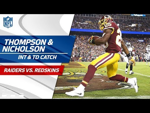 Video: Chris Thompson's TD Catch Set Up by Montae Nicholson's Huge INT! | Raiders vs. Redskins | NFL Wk 3