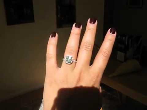 Cushion Diamond Ring in Micropave Halo Setting