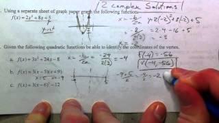 Algebra 2 Midterm Exam Review (16-20)