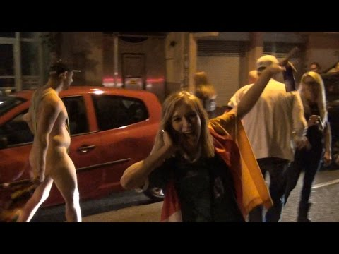 germany - Germany 1 - Argentina 0. Goal by Goetze in Overtime! After Winning the Football World Cup 2014, everybody in Germany went out on the streets to celebrate tog...