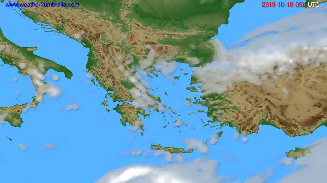 Cloud forecast Greece // modelrun: 12h UTC 2019-10-16