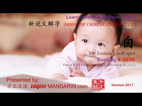 Origin of Chinese Characters - 5956 xìn 囟 fontanel, soft spot - Learn Chinese with Flash Cards