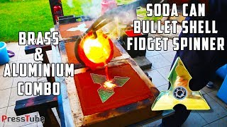 Making Triple Layer Fidget Spinner from empty Soda Cans and Empty Bullet Shells. Basically an advanced way of recycling sode cans and bullet shells :)The outer layers of the Fidget Spinner are Brass (bullet shells) and the inner layer is Aluminium (Soda Cans)The Spinner is bigger then a normal spinner, but it's not meant to be spinned in one hand, or doing tricks with it.It's more meant as a collectors item.This is just a demonstration on how to make a fidget spinner with molten brass.This is not meant as a DIY fidget spinner video because i assume that not everyone has a melting furnace at home to melt brass or aluminium :)I spend 4 entire days to complete this project.Be sure to check out the website from Ispin ! They have some very nice spinners with an awesome quality!I-Spin website : http://bit.ly/I-SpinLePicBois Channel : http://bit.ly/LePicBoisChannelSupport our creativity on Patreon here : http://bit.ly/SupportPressTube================Giveaway Link Triple Layer Spinner + I-Spin Spinner : http://bit.ly/TripleLayerGiveAwayYou can still participate for our Android spinner from our previous video.Android Spinner : http://bit.ly/AndroidGiveAway================SocialBlade PressTube Stats : http://bit.ly/PressTubeStatsIf you liked this video, please consider to give it a thumbs-up so I know you liked the video.Thanks !Description :In this video I'm casting a Triple Layer Fidget Spinner from empty bullet shells ( brass ) and Empty Soda Cans ( aluminium ).The color of the brass has almost the same color as the expensive metal gold. So it kind of looks like a golden fidget spinner, but a fake one then :) Gold costs about 37.000$ for 1kg so it's impossible to cast this in gold :-)The bullet shells were bought at a local shooting range here in Belgium/Antwerp.The hole for the bearing was drilled a tiny bit smaller then the bearing itself, so in order to make it fit i had to put it in liquid nitrogen to shrink it. Once it warmed up again it locked itself in to place.For 
