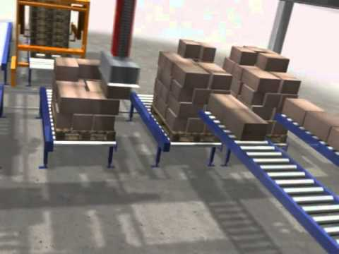 Two gantry robots palletising four lines