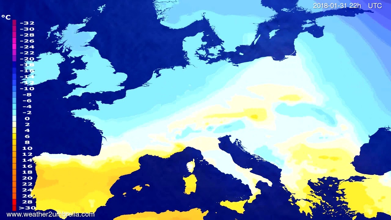 Temperature forecast Europe 2018-01-29
