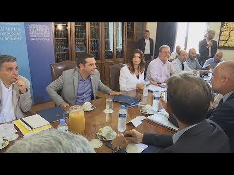 Εσωτερικά πλάνα του πρωθυπουργού στη σύσκεψη με εκπροσώπους των παραγωγικών φορέων στην Θεσ/κη