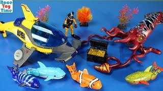 Hi kids, RaceToyTime here! Today, we are going to show you this Animal Planet Giant Squid Playset. In this video, we also included some toy sea animals like hammerhead shark, dolphin, sharks and the swimming dog and also some playmobil figures and the aquarium. Please be sure to subscribe to our channel if you haven't already, and like and share our videos. We have a lot of videos on our channel. Watch them all! We'll make more! Comment below if you like and as always, thanks for watching!Watch our other videos:  Learn Animal Toys Names │ Zoo Animals Elephant Lion Tiger Rhino for Kids - https://www.youtube.com/watch?v=KnsmONvQyeYLearning Sea Animals Toy Sharks Whales Dolphin - https://www.youtube.com/watch?v=9i88w4UqPnADinosaur Surprise Toys Game in the Claw Machine -  Learn Dinosaurs Names For Children - https://www.youtube.com/watch?v=H8AkVqFrxhoJurassic World Mini Dinosaurs Figures Blind Bag Exclusive Indominus Rex  - https://www.youtube.com/watch?v=_bgyS74lUR8Playmobil City Zoo Toy Wild Animals Building Set Build Review - https://www.youtube.com/watch?v=g5dbYcmUHZ8Playmobil City Life Large Zoo Toy Wild Animals Building Set Build Review - https://www.youtube.com/watch?v=IZXfiFPyW8EDinosaurs 3D Puzzles Animals Eggs Surprise Toys - Spinosaurus Ankylosaurus Pteranodon - https://www.youtube.com/watch?v=VJuukvLmpSgDinosaur Transforming Eggs Toys - Tyrannosaurus Rex Pterodactyl Velociraptor Triceratops - https://youtu.be/HT_CFeMP9GkToy Wild Animals 3D Puzzles Collection - Lion Panda Elephant Zebra Tortoise │ Animals for children - https://youtu.be/yabb98z1WC8Playmobil Toy Wild Zoo Animals Collection For Kids - Tiger Panda Koala Gorilla - https://youtu.be/L06I3WiWjNsPLAYMOBIL Country Farm Animals Pen and Hen House Building Set Build Review  - https://www.youtube.com/watch?v=dGplrNa-NZkPLAYMOBIL Toy Wild Zoo Animals Collection For Kids - Tiger Panda Koala Gorilla - https://youtu.be/L06I3WiWjNsPlaymobil Safari Wild Animals Buiding Toy Sets Collection For Kids - https://yo