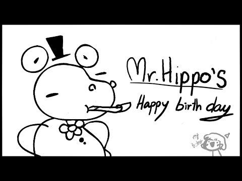 Funny birthday wishes - Mr.Hippo sing Happy birthday //animation