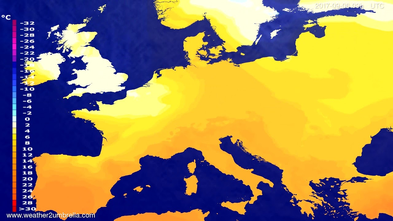 Temperature forecast Europe 2017-09-02