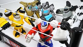 Transformers Battle Masters match on th ring - Optimus Prime, Bumblebee, Megatron, Grimlock - DuDuPopTOY ...