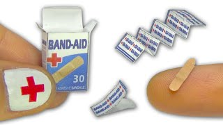 Miniature doll band-aid or adhesive bandages strips and box Tutorial - DIY - YolandaMeow♡
