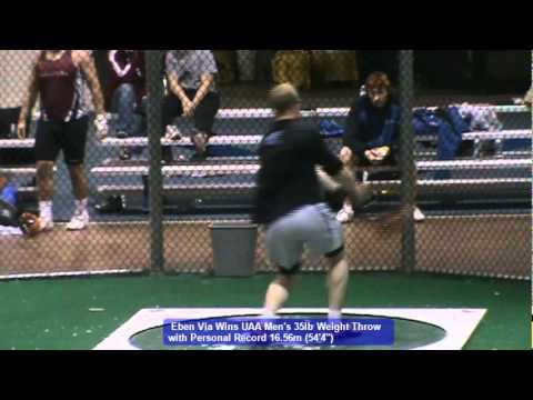 Eben Via's Championship Weight Throw at 2012 UAA Indoor Championship