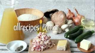 Risotto con hongos, panceta y zucchini