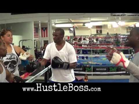 Floyd Mayweather Sr. mock sparring with Zach Cooper at the Mayweather Boxing Club