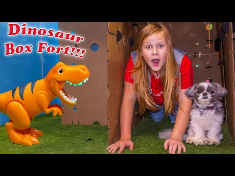 Assistant Hunts for Dinosaurs in her Giant Box Fort with Paw Patrol