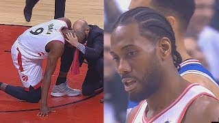 Kawhi Injures Serge Ibaka With Elbow To The Head By Accident! Sixers vs Raptors Game 5