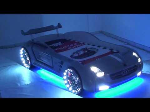 Autobett byMM Roadster grau LED Licht Auto Kinderbett