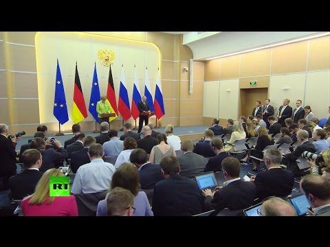 Пресс-конференция Путина и Меркель по итогам встречи