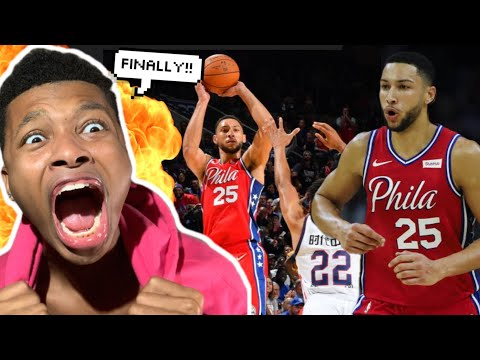 BEN SIMMONS HITS HIS FIRST CAREER 3 POINTER EVER REACTION!!!
