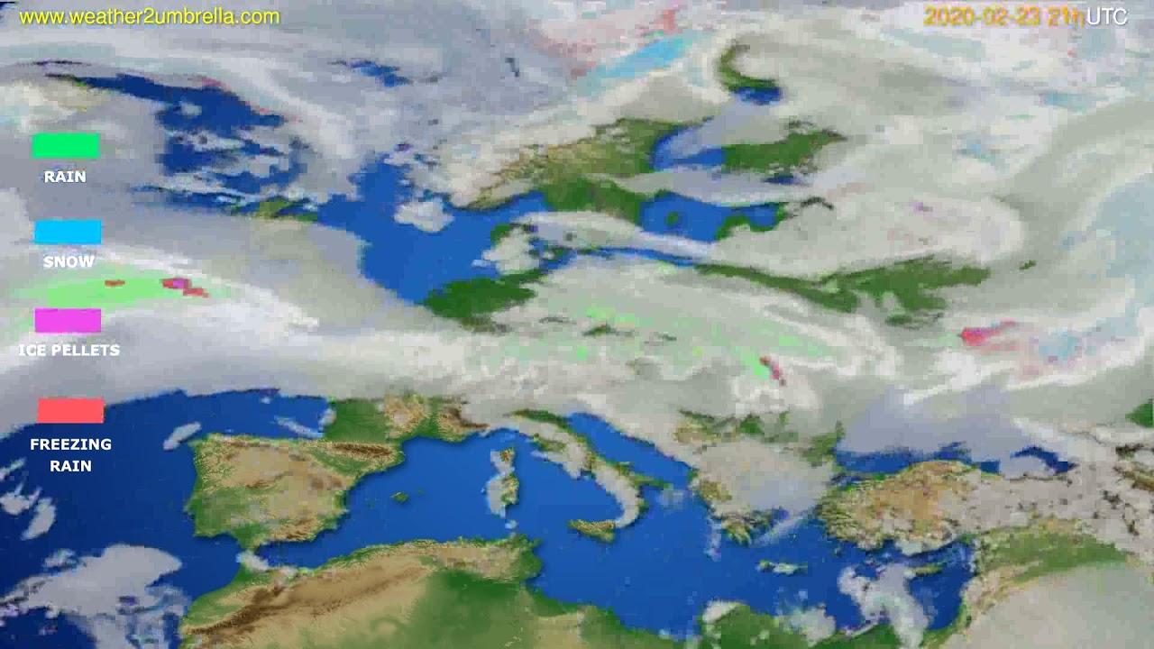 Precipitation forecast Europe // modelrun: 12h UTC 2020-02-22