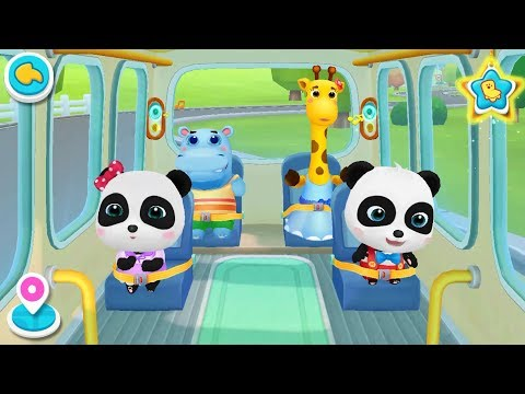 ❤ Little Panda School Bus | Go Shopping | Kids Cartoon | Kids Videos | BabyBus Game