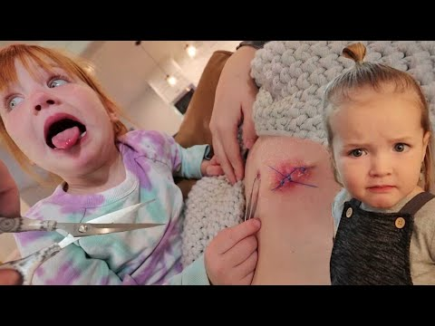 Doctor Adley removes Stitches!!  Brave Mom & Kids surprise me with drone! family pirate island visit