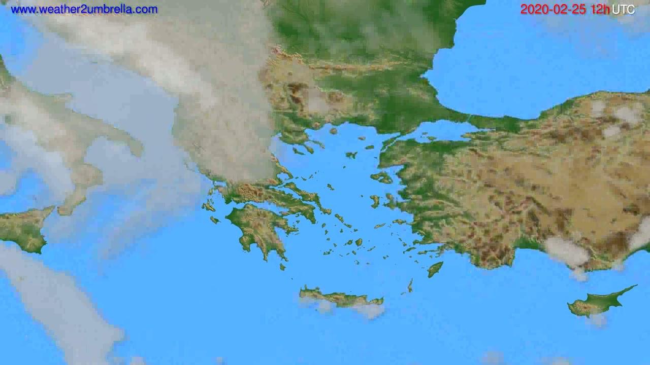 Cloud forecast Greece // modelrun: 12h UTC 2020-02-24