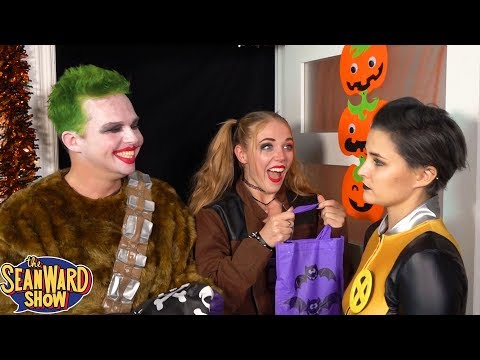 SUPERHERO HALLOWEEN! Trick or Treat with Batman, Joker, Spider-Man - TheSeanWardShow