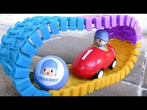 Pocoyo Swiggle Race Track Playset with Motorized Pocoyó Car Track Bridge - Pista de Corrida