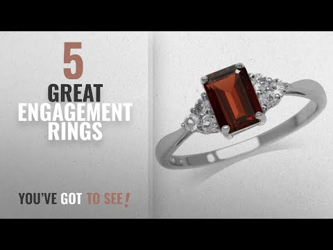 10 Best Garnet Engagement Rings [2018]: 1.28ct. Natural Garnet & White Topaz 925 Sterling Silver